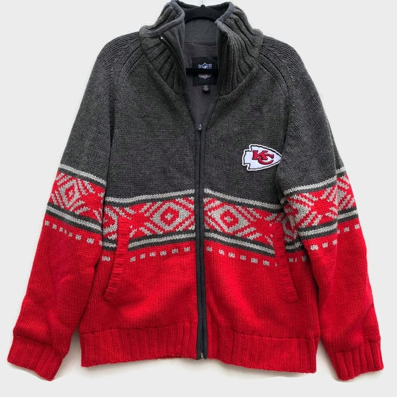 more photos 2dff0 acba1 Kansas City KC Chiefs Heavy Knit Sweater Jacket